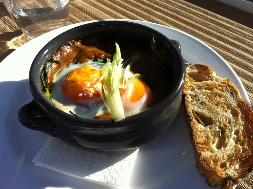 Coddled eggs with mushrooms at The Swimmer's Club