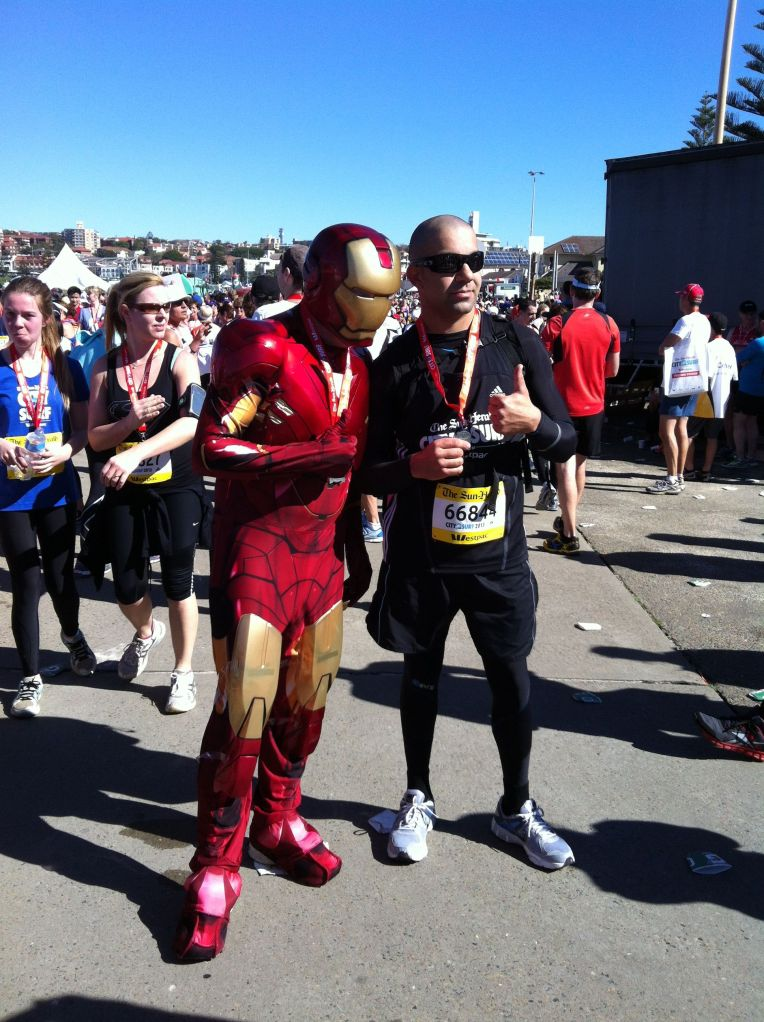 Superheroes at the finish line