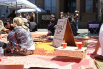 Chattai mats around the chai stall