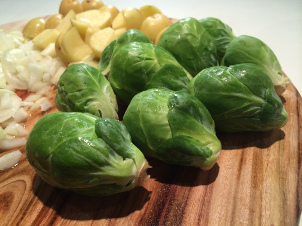 Freshly washed brussel sprouts