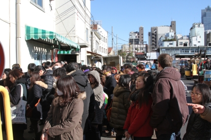 The snaking line for Sushi Dai